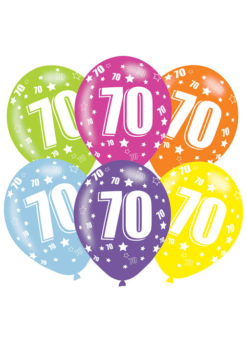 Happy 70th Birthday Latex Balloons 6pk