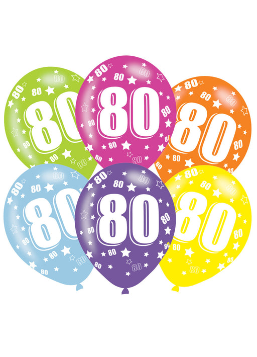 Happy 80th Birthday Latex Balloons 6pk