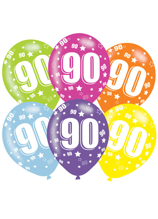 Happy 90th Birthday Latex Balloons 6pk Party Britain