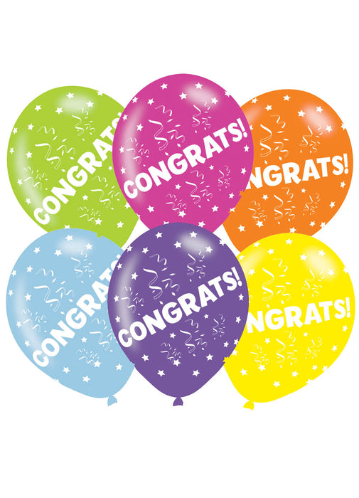 Congratulations Latex Balloons 6pk