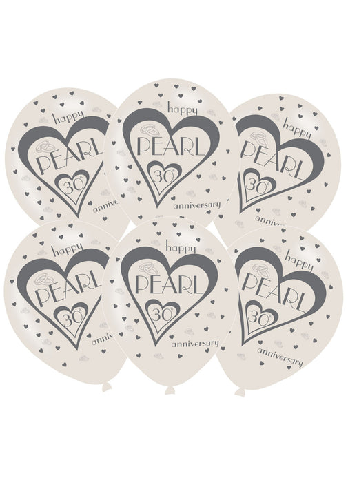 30th Pearl Anniversary Latex Balloons 6pk