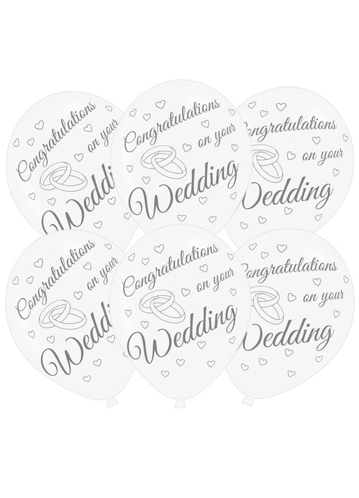 Congrats On Your Wedding Latex Balloons 6pk
