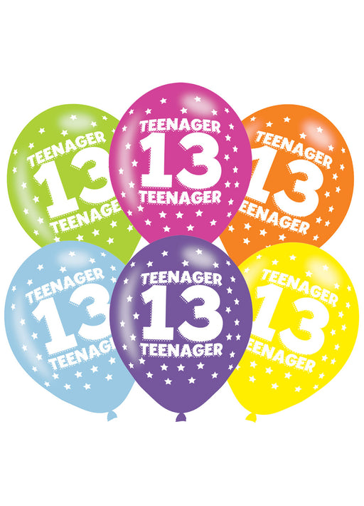 Happy 13th Birthday Latex Balloons 6pk