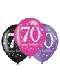 Pink Celebration 70th Birthday Latex Balloons