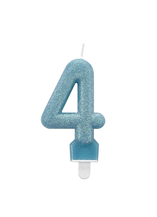 Number 4 Blue Glitter Candle