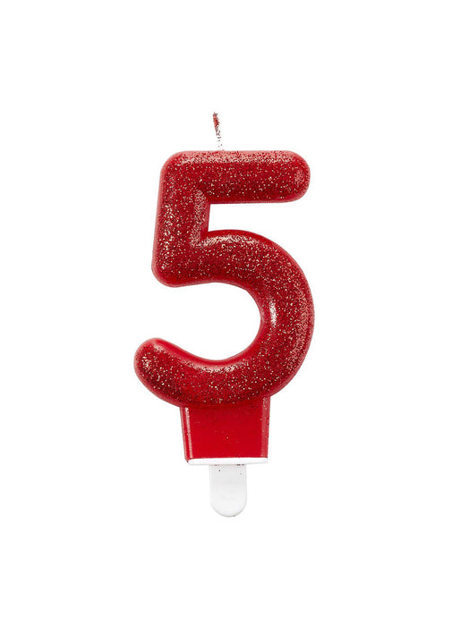 Number 5 Red Glitter Candle