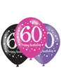 Pink Celebration 60th Birthday Latex Balloons