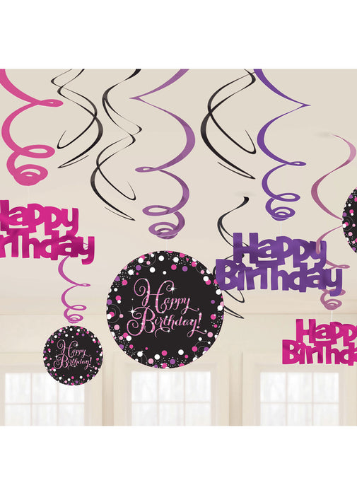 Pink Celebration Happy Birthday Swirl Decorations