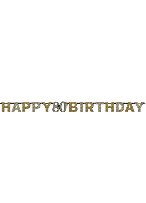 Gold Celebration 80th Letter Banner
