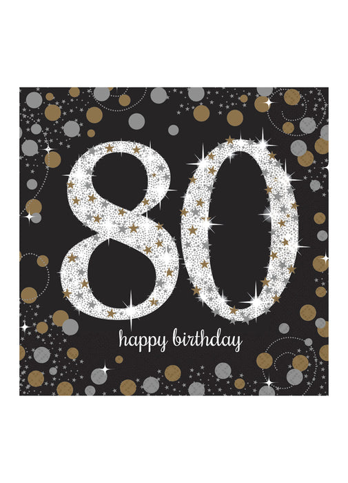 Gold Celebration 80th Birthday Napkins