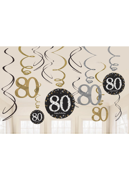Gold Celebration 80th Swirl Decorations