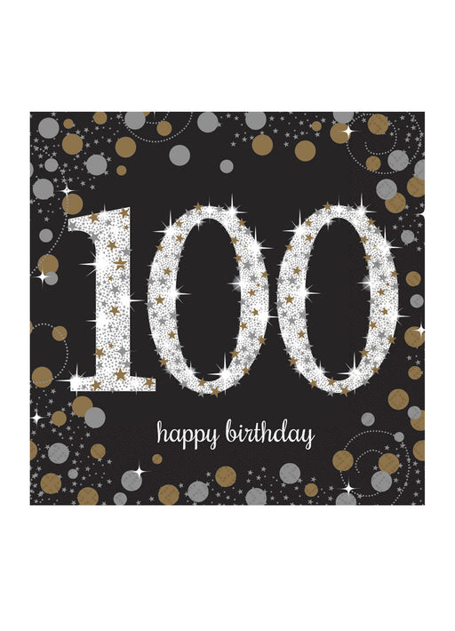 Gold Celebration 100th Birthday Napkins