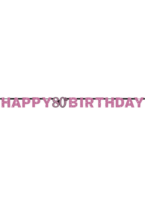 Pink Celebration 80th Birthday Letter Banner
