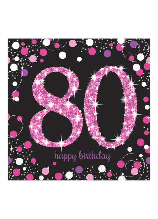 Pink Celebration 80th Birthday Napkins