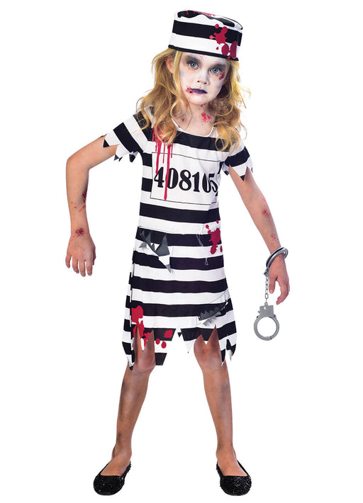 Zombie Convict Girl Costume Child
