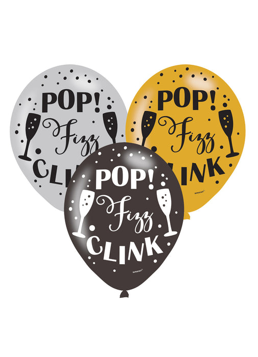 Pop Fizz Click Latex Balloons 6pk