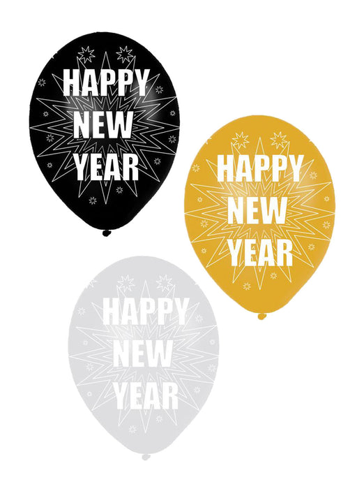 Happy New Year Latex Balloons 6pk