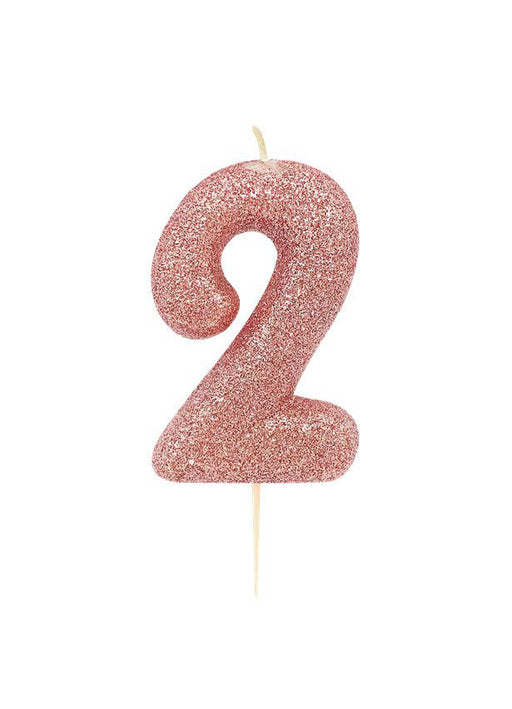 Rose Gold Glitter Number 2 Candle