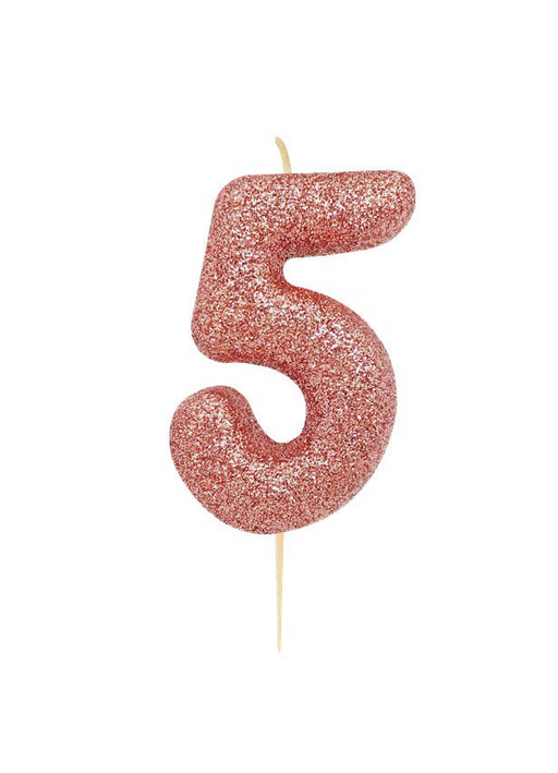 Rose Gold Glitter Number 5 Candle