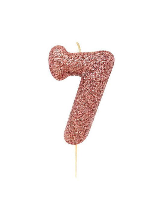 Rose Gold Glitter Number 7 Candle