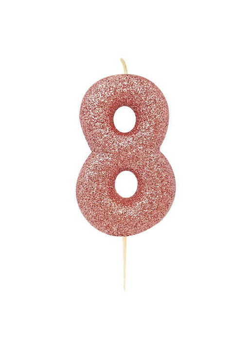 Rose Gold Glitter Number 8 Candle