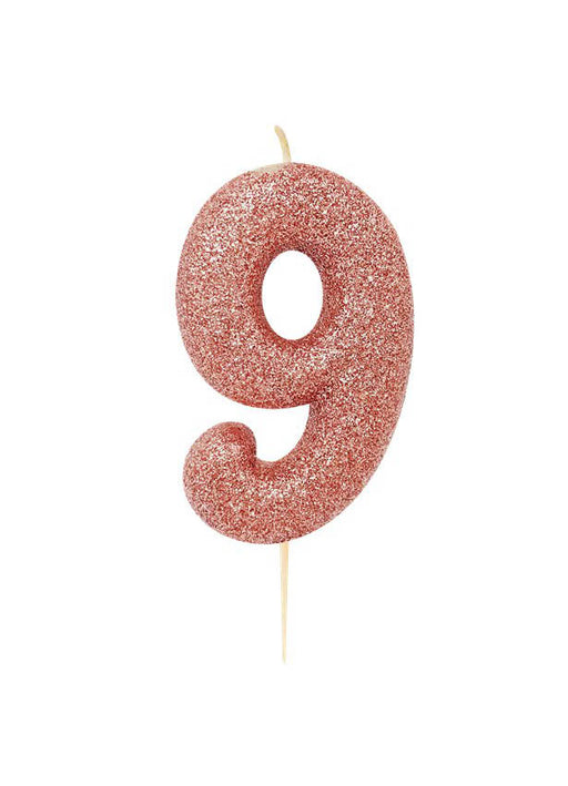 Rose Gold Glitter Number 9 Candle