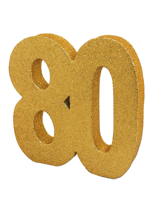 Gold Age 80 Glitter Table Decoration