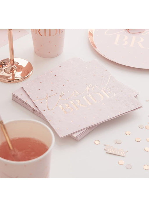 Rose Gold Foiled Hen Party Napkins 16pk