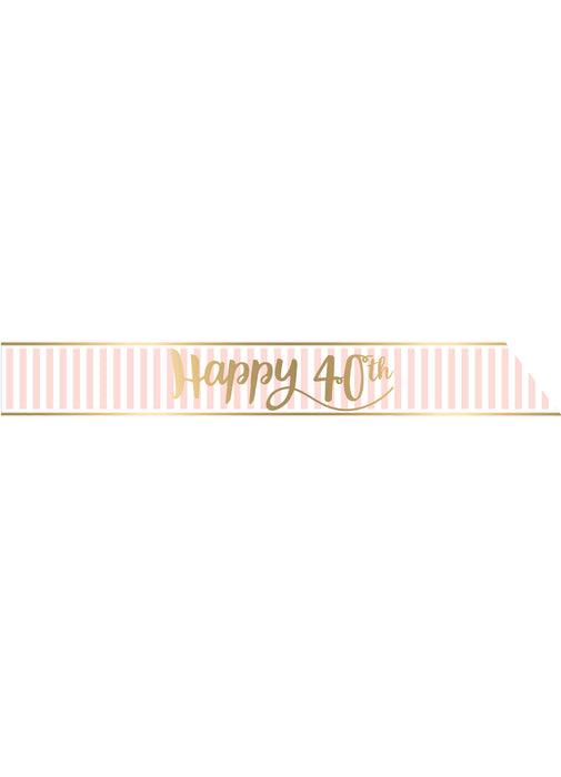 Pink Chic Age 40 Birthday Sash