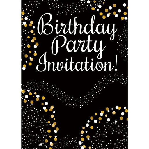 Gold Celebration Birthday Invitations 8pk