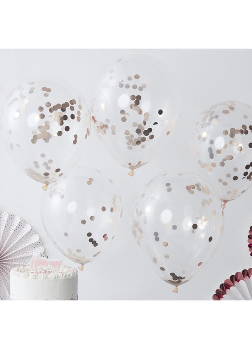 Rose Gold Confetti Latex Balloons 5pk