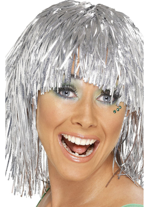 Silver Cyber Tinsel Wig