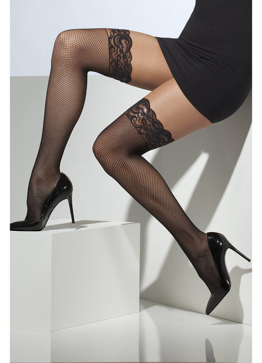 Lace Trim Fishnet Hold Up Stockings