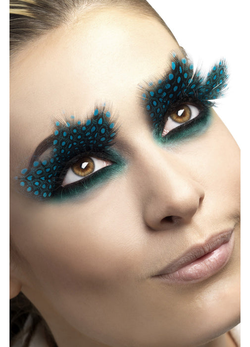 Black & Aqua Spotted Eyelashes