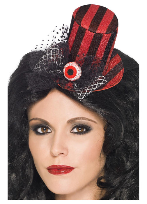 Black & Red Striped Top Hat