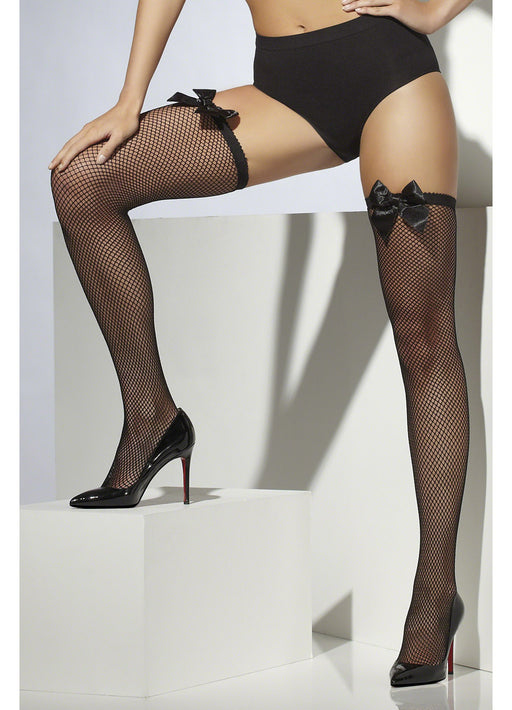 Black Fishnet Hold Up Stockings With Bow