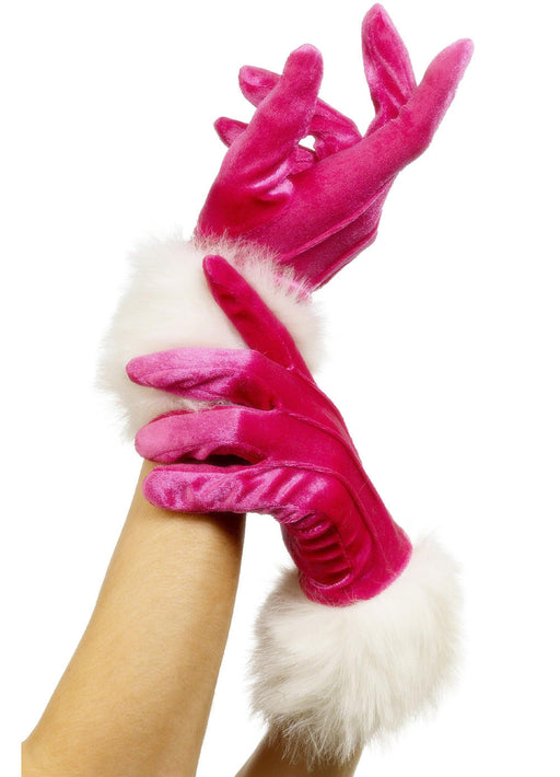 Pink Santa Gloves With Fur