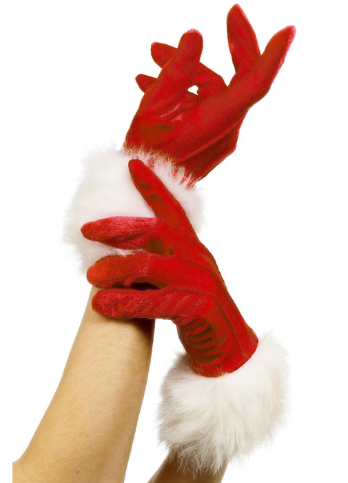 Red Santa Gloves With Fur