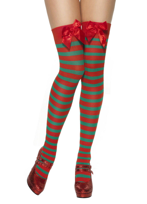 Stripy Elf Thigh-High Stockings