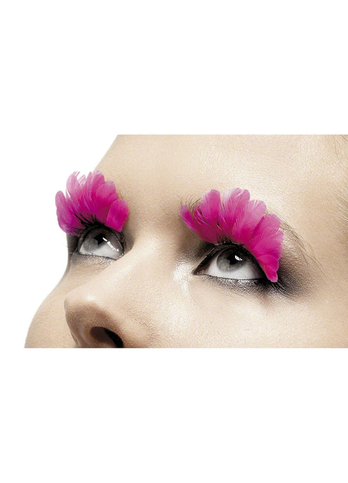 Neon Pink Feather Eyelashes Party Britain