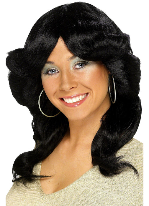 70's Long Flick Black Wig