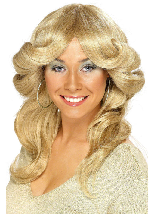 70's Long Flick Blonde Wig