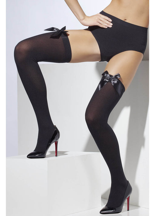Black Stockings With Black Bow