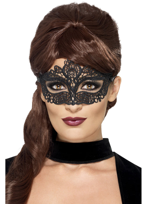 Black Embroidered Lace Eyemask