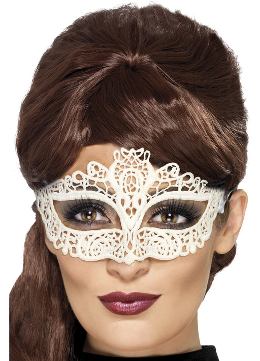White Embroidered Lace Eyemask