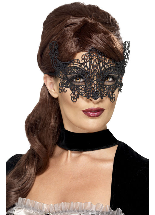 Black Embroidered Swirl Eyemask
