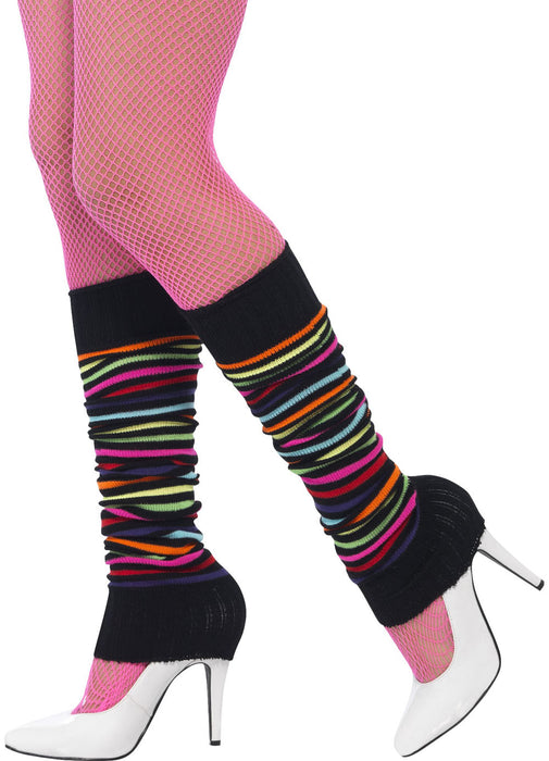 Neon Legwarmers With Black Stripes