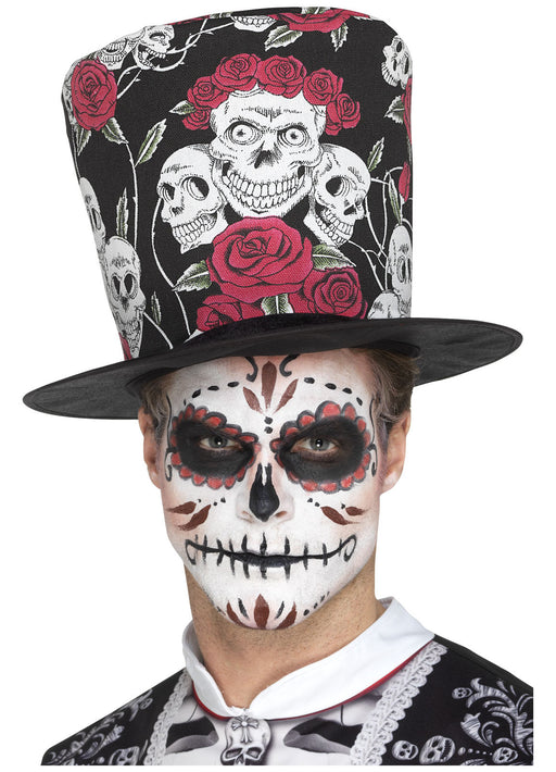 Day of The Dead Material Top Hat