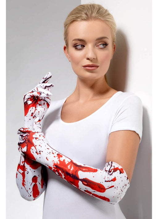 Long Blood Splatter Gloves