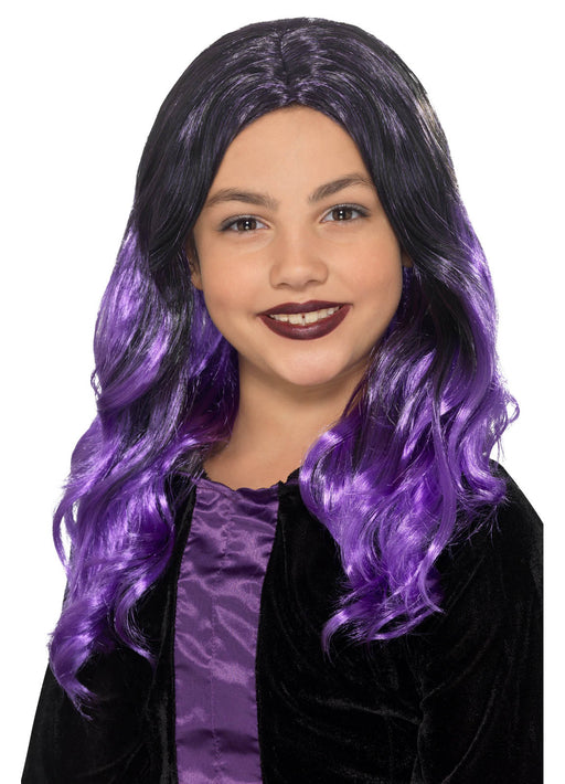 Purple & Black Kid's Witch Wig